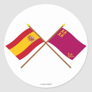 Crossed flags of Spain and Murcia Classic Round Sticker