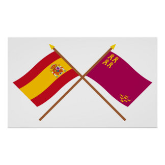 Crossed flags of Spain and Murcia Poster