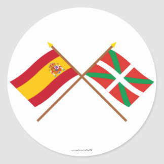 Crossed flags of Spain and País Vasco (Euskadi) Classic Round Sticker