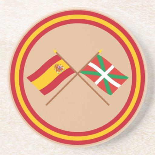 Crossed flags of Spain and País Vasco (Euskadi) Drink Coaster