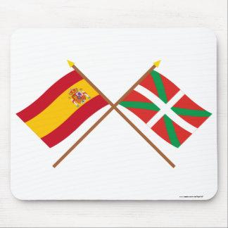 Crossed flags of Spain and País Vasco (Euskadi) Mousepads