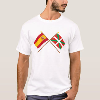 Crossed flags of Spain and País Vasco (Euskadi) T-Shirt