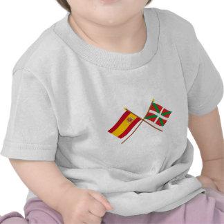 Crossed flags of Spain and País Vasco (Euskadi) Tee Shirts