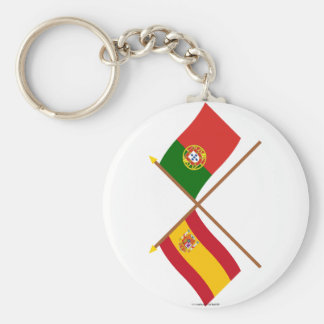 Crossed Flags of Spain and Portugal Keychain