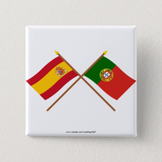 Crossed Flags of Spain and Portugal Pinback Button
