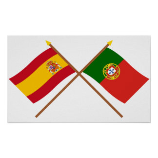 Crossed Flags of Spain and Portugal Poster