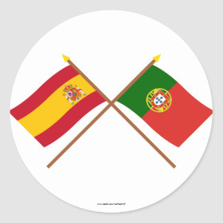 Crossed Flags of Spain and Portugal Stickers