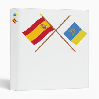 Crossed flags of Spain and the Canary Islands 3 Ring Binder