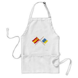 Crossed Flags of Spain and the Canary Islands Adult Apron