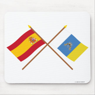 Crossed flags of Spain and the Canary Islands Mouse Pad