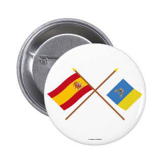 Crossed flags of Spain and the Canary Islands Pinback Button