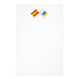 Crossed flags of Spain and the Canary Islands Stationery
