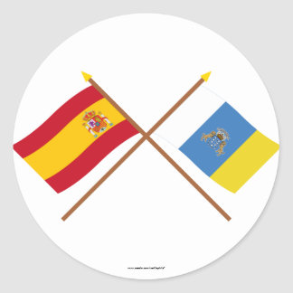 Crossed Flags of Spain and the Canary Islands Stickers