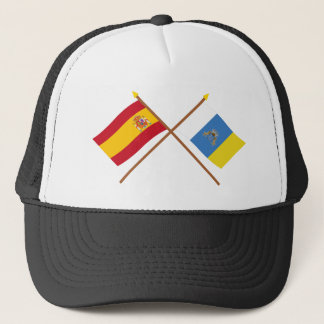 Crossed flags of Spain and the Canary Islands Trucker Hat
