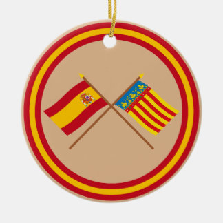 Crossed flags of Spain and Valencia Ceramic Ornament