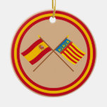 Crossed flags of Spain and Valencia Christmas Tree Ornaments