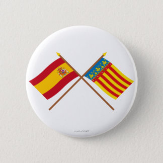 Crossed flags of Spain and Valencia Pinback Button