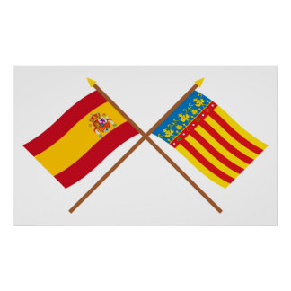 Crossed flags of Spain and Valencia Print