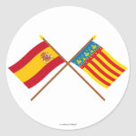 Crossed flags of Spain and Valencia Classic Round Sticker
