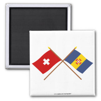 Crossed Flags of Switzerland and Madeira Magnet