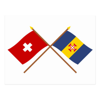 Crossed Flags of Switzerland and Madeira Postcard