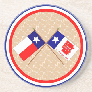 Crossed Flags of Texas and Bosque County Coaster