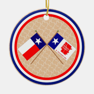 Crossed Flags of Texas and Bosque County Christmas Ornament
