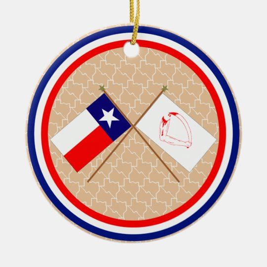 Crossed Flags of Texas and Goliad County Ceramic Ornament