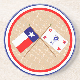 Crossed Flags of Texas and Hockley County Drink Coasters