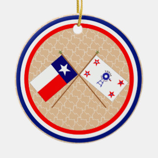 Crossed Flags of Texas and Hockley County Christmas Ornament