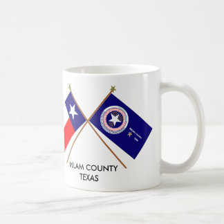 Crossed Flags of Texas and Milam County Coffee Mug