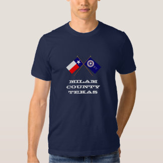 Crossed Flags of Texas and Milam County Tee Shirt