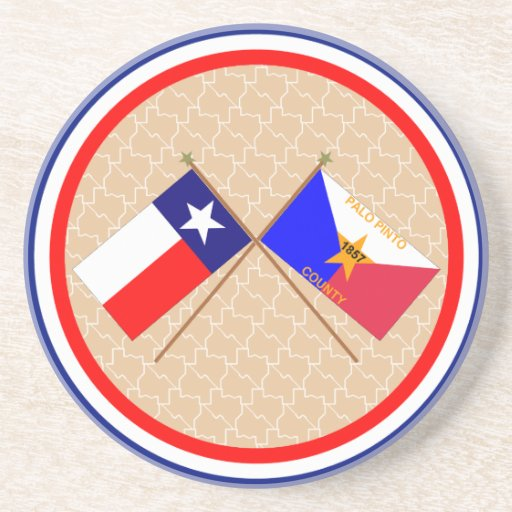 Crossed Flags of Texas and Palo Pinto County Drink Coasters