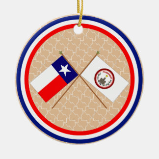 Crossed Flags of Texas and Parker County Christmas Tree Ornament