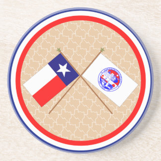 Crossed Flags of Texas and San Patricio County Beverage Coaster