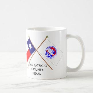 Crossed Flags of Texas and San Patricio County Mug