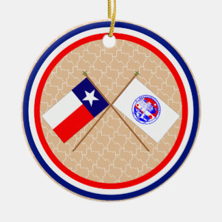 Crossed Flags of Texas and San Patricio County Christmas Tree Ornaments