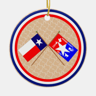 Crossed Flags of Texas and Swisher County Ornaments