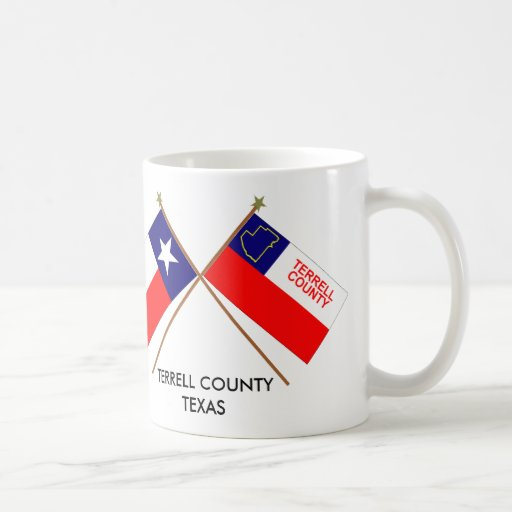 Crossed Flags of Texas and Terrell County Classic White Coffee Mug