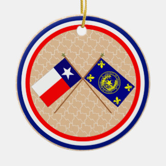 Crossed Flags of Texas and Travis County Double-Sided Ceramic Round Christmas Ornament
