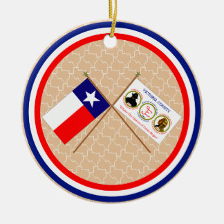 Crossed Flags of Texas and Victoria County Ornaments