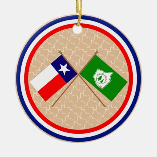Crossed Flags of Texas and Walker County Christmas Tree Ornament