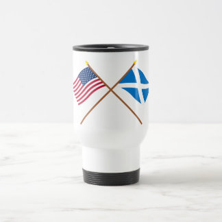 Crossed Flags of the USA and Scotland (Cross) 15 Oz Stainless Steel Travel Mug