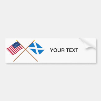 Crossed Flags of the USA and Scotland (Cross) Bumper Sticker