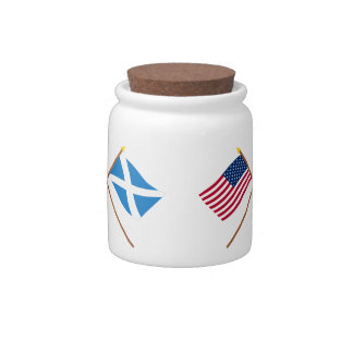 Crossed Flags of the USA and Scotland (Cross) Candy Dish