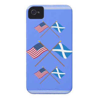 Crossed Flags of the USA and Scotland Cross Blackberry Cases