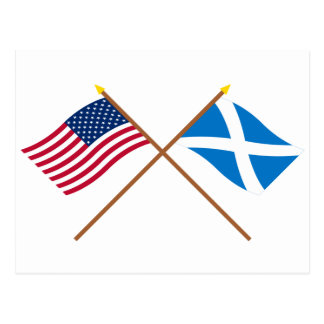 Crossed Flags of the USA and Scotland (Cross) Postcard