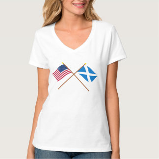 Crossed Flags of the USA and Scotland (Cross) T-Shirt