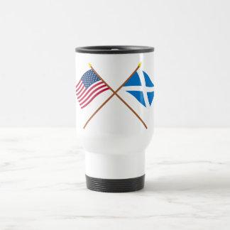 Crossed Flags of the USA and Scotland (Cross) Travel Mug