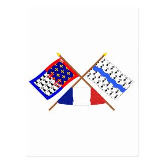 Crossed flags Pays-de-la-Loire & Loire-Atlantique Postcard